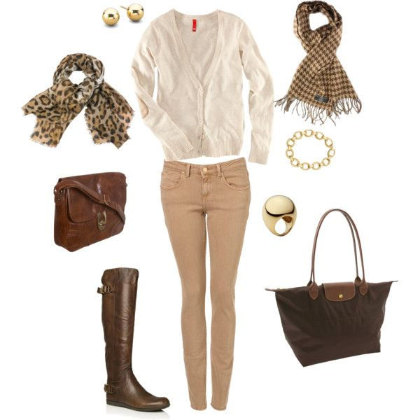 Tan/khaki skinny jeans, cream cardigan, brown leather riding boots, and two alternative accessory options of leopard or houndstooth scarves with coordinating bags and jewelry.