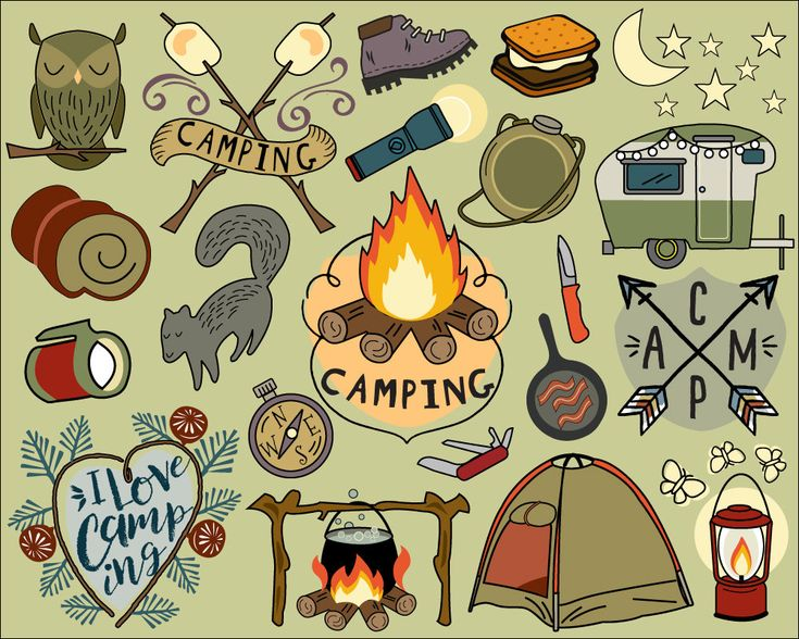 Camping Clipart, summer clipart, bullet journal stickers, vacation clipart, campfire clip art, camping clip art, hiking clip art, tent by KatyBeeDesign on Etsy