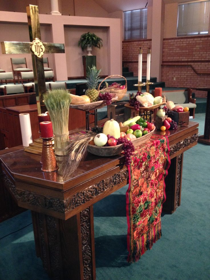 Thanksgiving altar              I like the use of levels