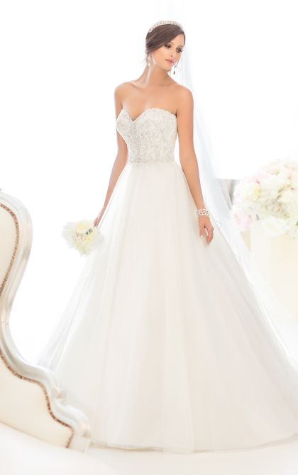 Essense of Australia Style D1629. For brides looking for romantic wedding dresses, Essense of Australia designers have created this magical ball gown in soft Tulle over Satin. #EssenseBride #WeddingDress