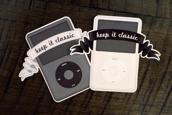 Di-Cut Digital Waterproof Sticker Laptop Sticker Decal iPod Classic Quirky Music Lover Art Digitally Drawn Sticker