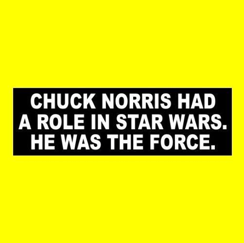 "Funny ""CHUCK NORRIS HAD A ROLE IN STAR WARS"" decal BUMPER STICKER martial arts"