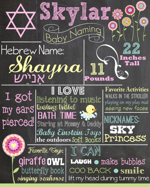 9 best baby naming images on pinterest babys naming ceremony and custom baby naming ceremony colored chalkboard poster invitation hebrew jewish baby naming negle Images