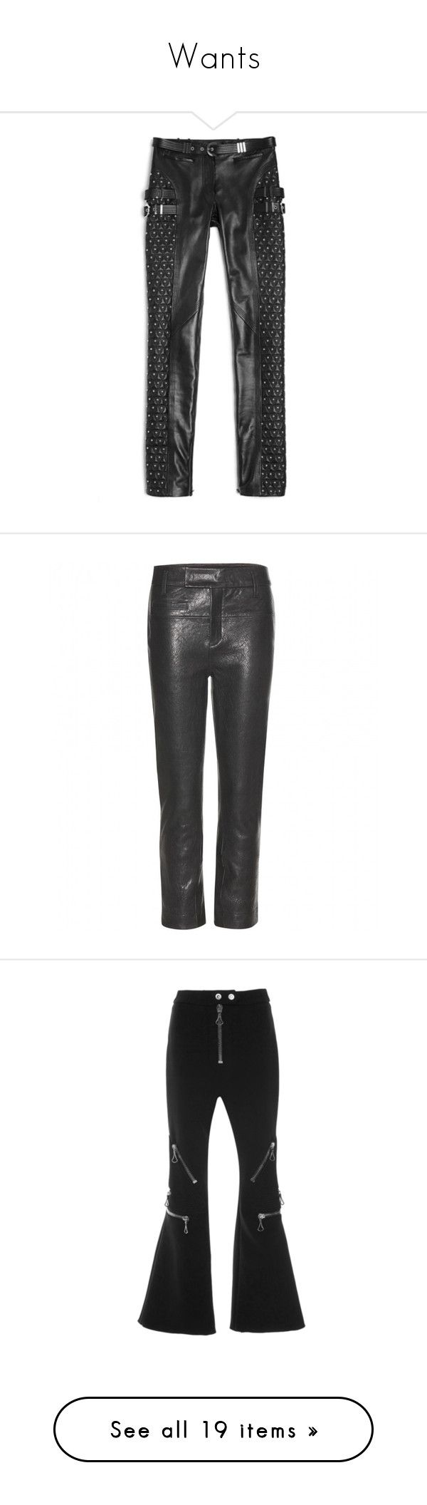 """Wants"" by topshelfxx ❤ liked on Polyvore featuring pants, versace, jeans / pants / leggings, versace trousers, studded leather pants, versace pants, black, genuine leather pants, leather trousers and leather pants"