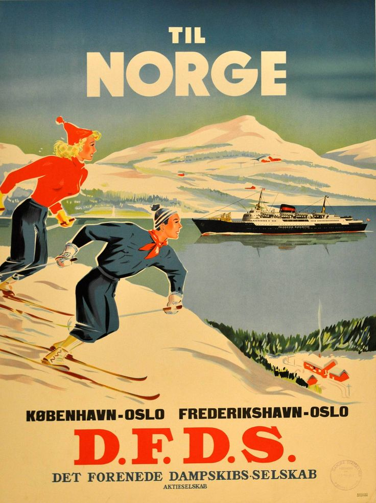Original Vintage Poster Advertising Skiing In Norway By DFDS Ferry From Denmark   From a unique collection of more prints at https://www.1stdibs.com/art/prints-works-on-paper/more-prints-works-on-paper/