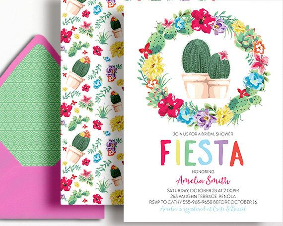 Bridal Shower Fiesta Invitation Mexico Mexican Succulents Cactus Desert Pink Mint Printable Couples Shower Brunch Luncheon