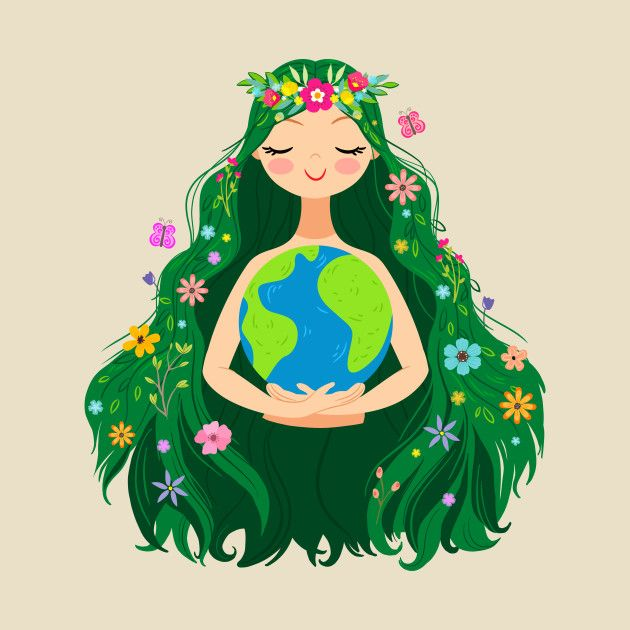 Beautiful Flowing Flower Earth Mother Figure Mother Earth