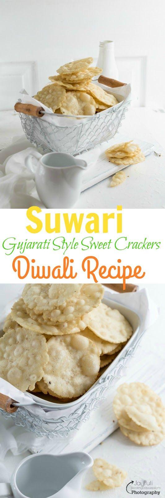 Jagruti's Cooking Odyssey: Suwari / Suvari - Gujarati style sweet and deep fried thin Crackers #Diwalicelebrations #Diwalisnacks #TraditionalIndiandiwalirecipes