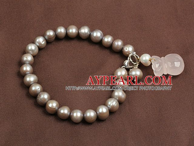 Simple Elegant Style Natural Grey Freshwater Pearl Elastic/ Stretch Bracelet With Rose Quartz Moneybag Charm