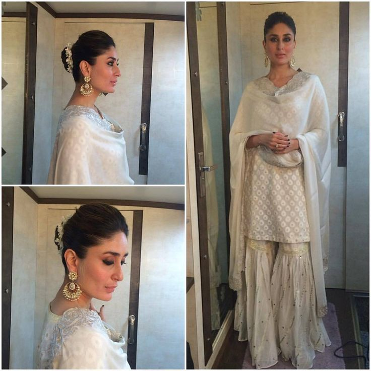 Off white kurti sharara kareena