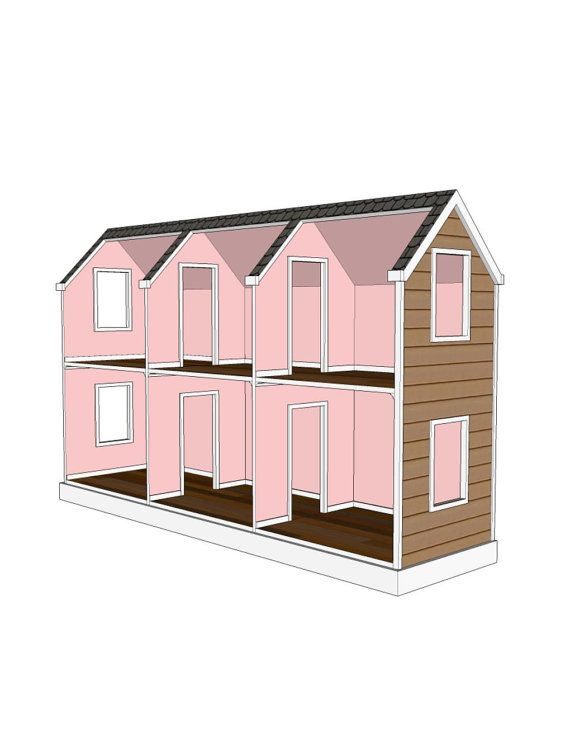 18 inch doll house plans free white three story american for American house plans free