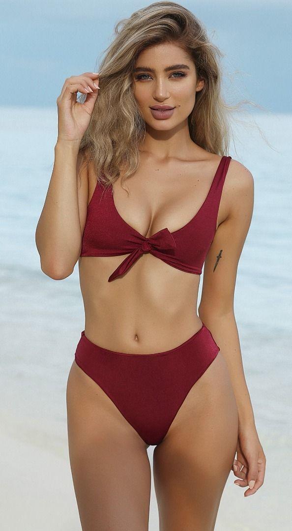 4cff411a06 A wine 90 s style bikini set that s flirty af  Bikinis