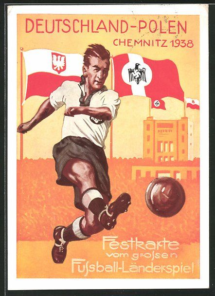 old postcard: AK Chemnitz, Fußball-Länderspiel Deutschland vs. Polen 1938, Fußballspieler vor Hakenkreuzfahnen