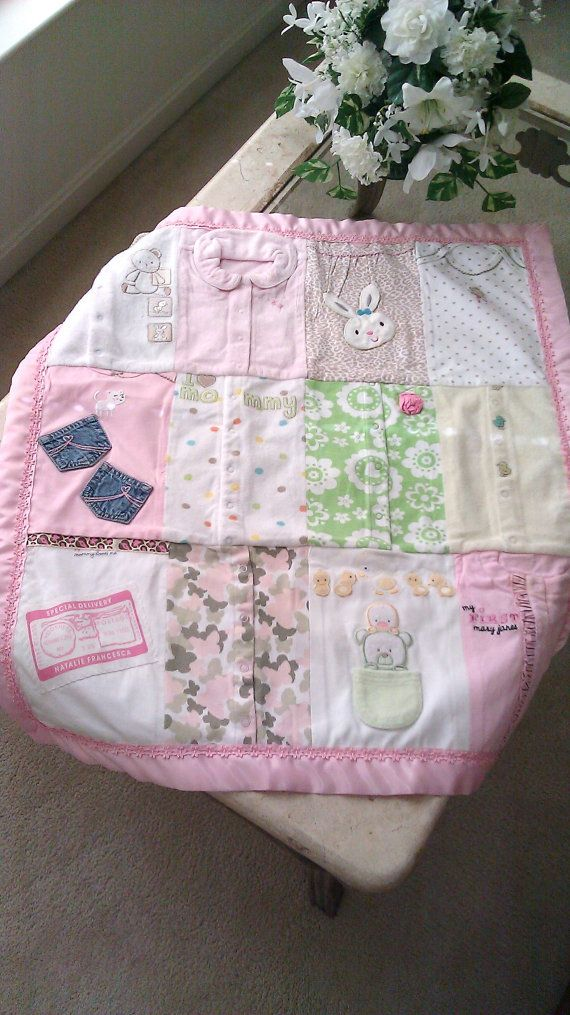 Baby's first year quilt out of your favorite outfits! Love this!!