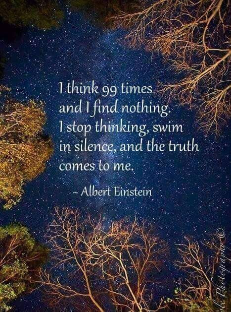 I stop thinking, swim in silence, and the truth comes to me. ~ Albert Einstein
