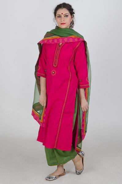 Pink Linen Embroidery Kurta