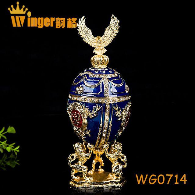 Eagle Decoratie Faberge Rusland Eieren Trinket Doos Sculptuur Kist Vintage Woondecoratie Paasei Magneet Metalen Ambachten