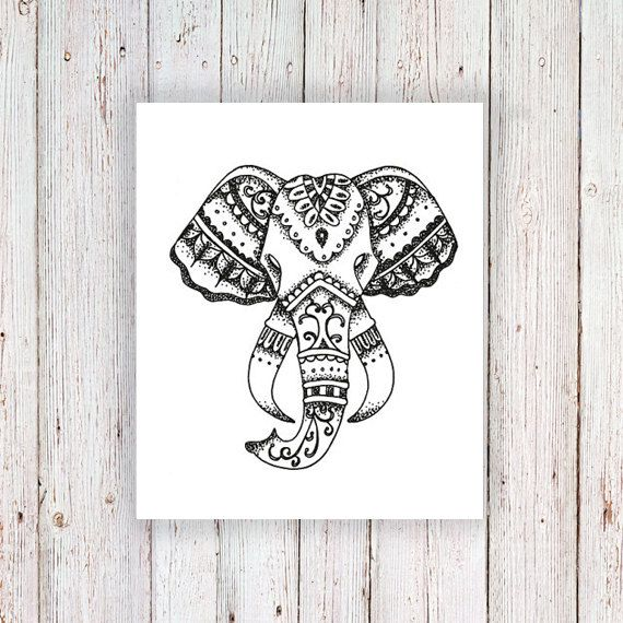Tatuaggio temporaneo elefante elephant head di Tattoorary su Etsy