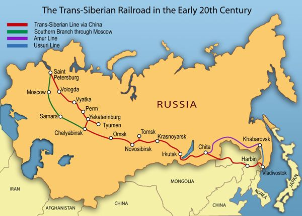 Trans Siberian Railway - the rest of Europe seems to have been submerged...