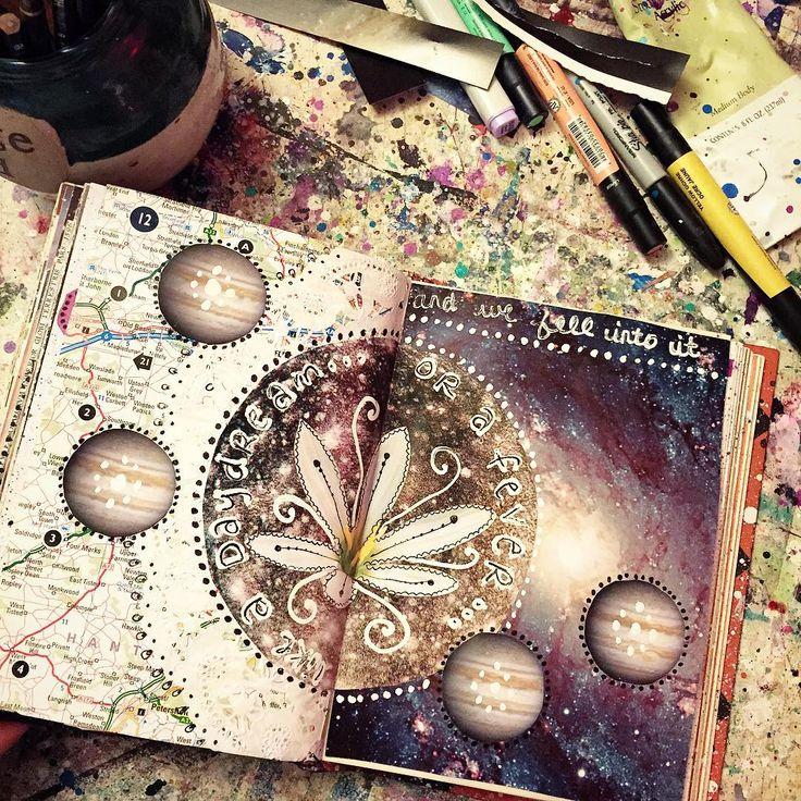 Art journaling the night away :) #art #artist #artjournal #artjournaling…