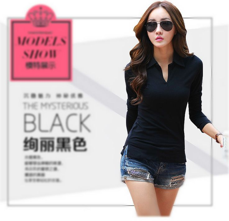 >> Click to Buy << black polo shirt white polos shirts femme plain women polo long sleeve polos manga larga chemise femme Camisetas Mujer #Affiliate