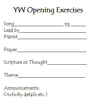 Young Womens Opening Exercises Conducting Form