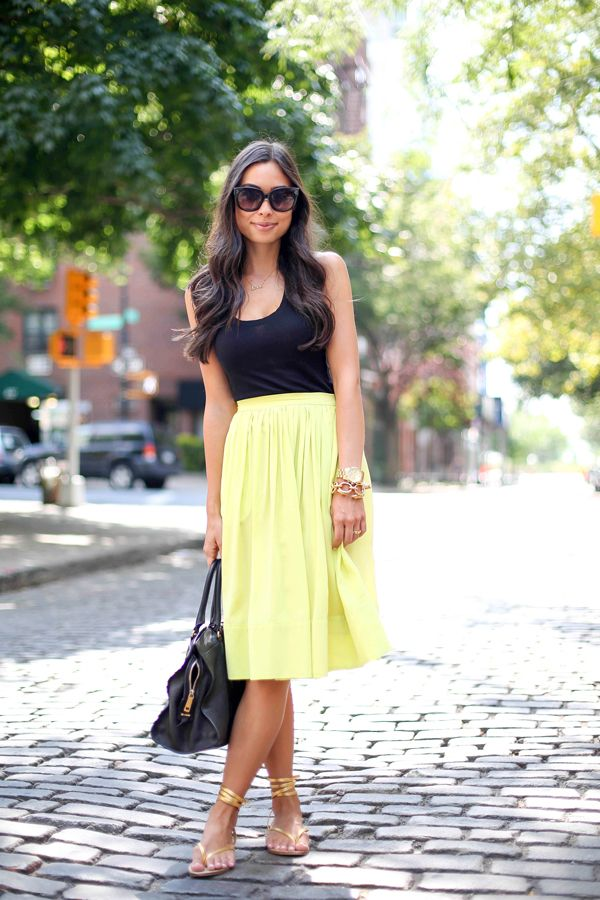 """Chartreuse midi skirt ♥♡♥♡♥Thanks, Pinterest Pinners, for stopping by, viewing, re-pinning,  following my boards.  Have a beautiful day! ^..^ and """"Feel free to share on Pinterest ^..^ #streetfashion   #fashionupdates   #women"""