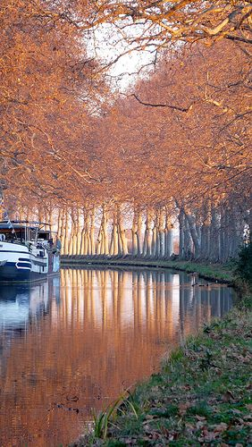 Canal du Midi in winter, France via flickr  http://www.leboat.com/vacations/destinations/france/canal-du-midi