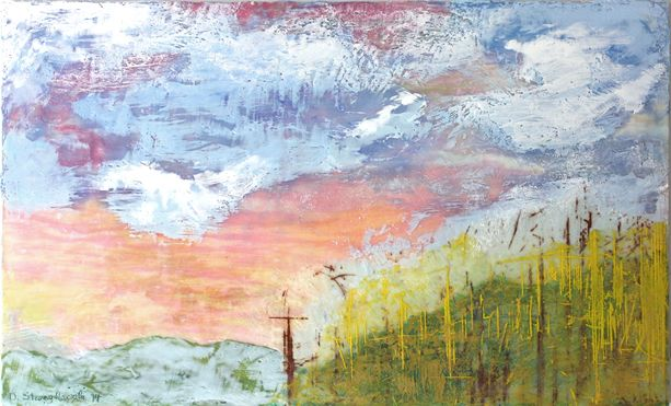 Bluemont No1, Woodcut, collograph, oil and encaustic, 48in x 24in