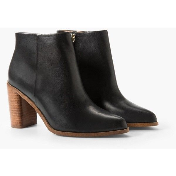 MANGO Heel Leather Ankle Boot ($70) ❤ liked on Polyvore featuring shoes, boots, ankle booties, leather bootie, ankle boots, short boots, real leather boots and side zip boots