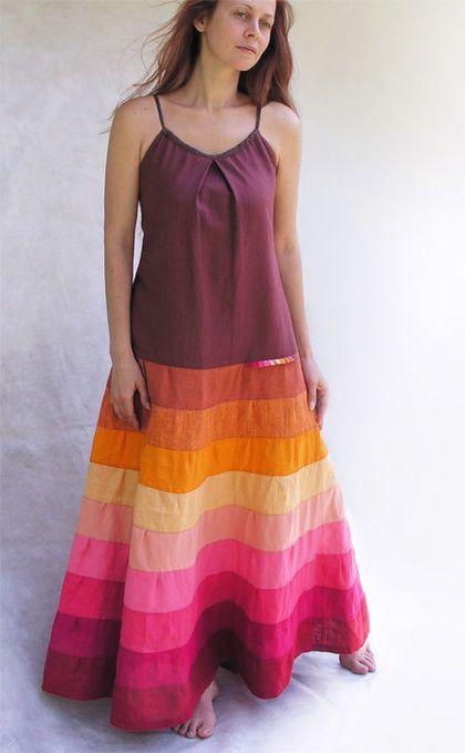 Платья ручной работы. Ярмарка Мастеров - ручная работа. Купить Радуга в терракотовом цвете. Handmade. Платье, одежда из льна