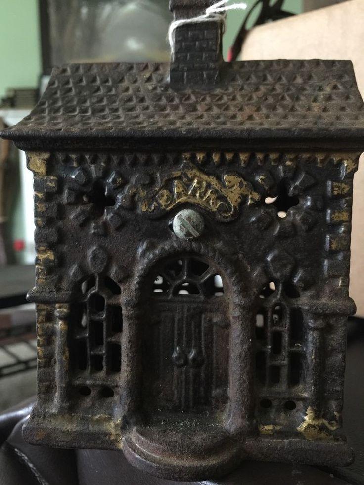 Antique Rare Cast Iron Coin Victorian Bank Building Antiques