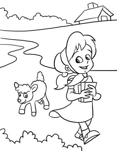Mary Had A Little Lamb Nursery Rhyme Coloring Page From