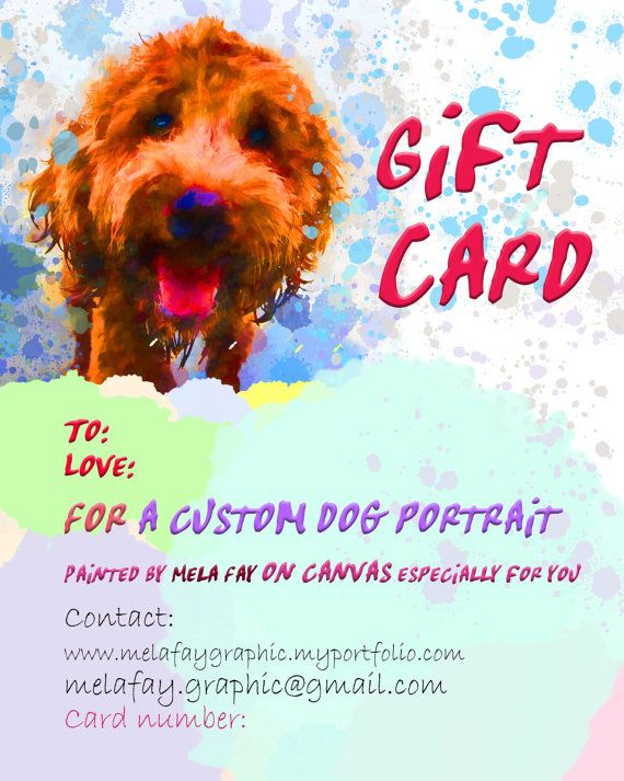 Dog portrait gift card Pet portrait custom by MelaCustomPortraits