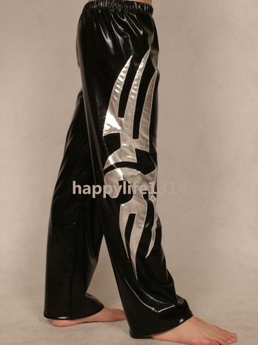 lycra spandex zentai wrestling tights/pants black silver F0202 Sz S-XXL