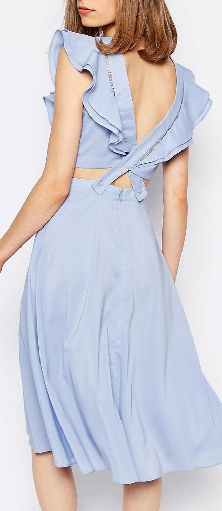 Lost Ink Ruffle Detail Low Back Dress