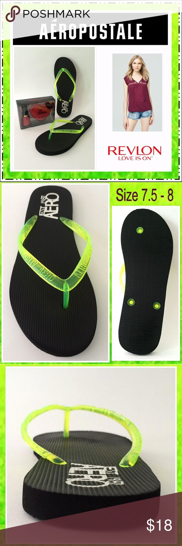 Aero Black Green Translucent Strap Flip Flop~ Sz 8 ★Like New Aéropostale Black Flip Flops with Green Translucent Strap, Size 8. Perfect to create a relaxed look to a basic black dress or give a splash to any swimsuit. Rich black sole makes the strap, with raised Aero logo, stand out. The logo is also on the heel bed in bright white. Typical marks from being worn once. Comes with bonus new Revlon Red Something Special Compact Duo Mirror Gift Set. Retails $30. (extremely clean) smoke-free…
