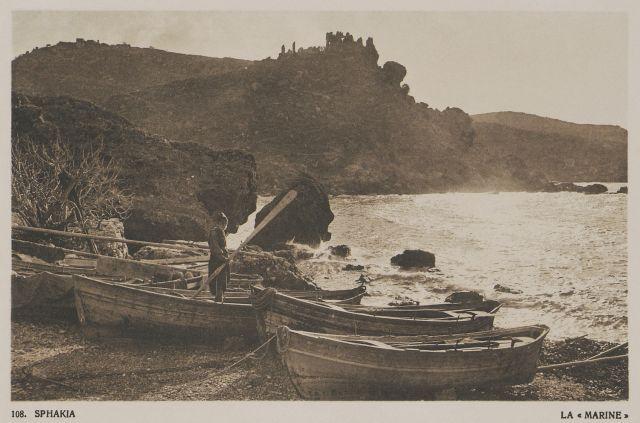 """Λιμανάκι στα Σφακιά. Sphakia. La """"Marine"""". 1919  BAUD-BOVY, Daniel, BOISSONNAS, Frédéric. Des Cyclades en Crète au gré du vent, Γενεύη, Boissonnas & Co, 1919. Βιβλιοθήκη Ιδρύματος Αικατερίνης Λασκαρίδη"""