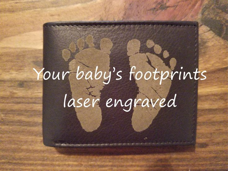Custom Laser Engraved Leather Wallet Featuring YOUR Baby's Footprints! // Gifts for Dad // Gifts for Grandpa // Personalized Gifts for Him by CaptainWoodbeard on Etsy