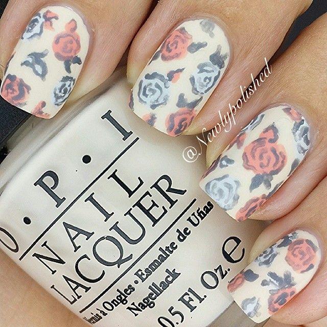 Flowers nails. Beige. OPI. Nail art. Nail design. Polish. By newlypolished