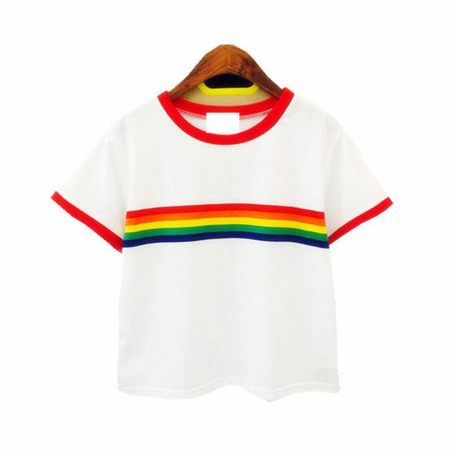 new 2017 rainbow Stripe woman t shirt slim tees all-match cotton short-sleeve o-neck harajuku T-shirt women top Women's Clothing