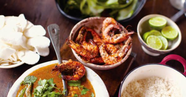 Röd curry med räkor och papayatallrik | Recept från Köket.se