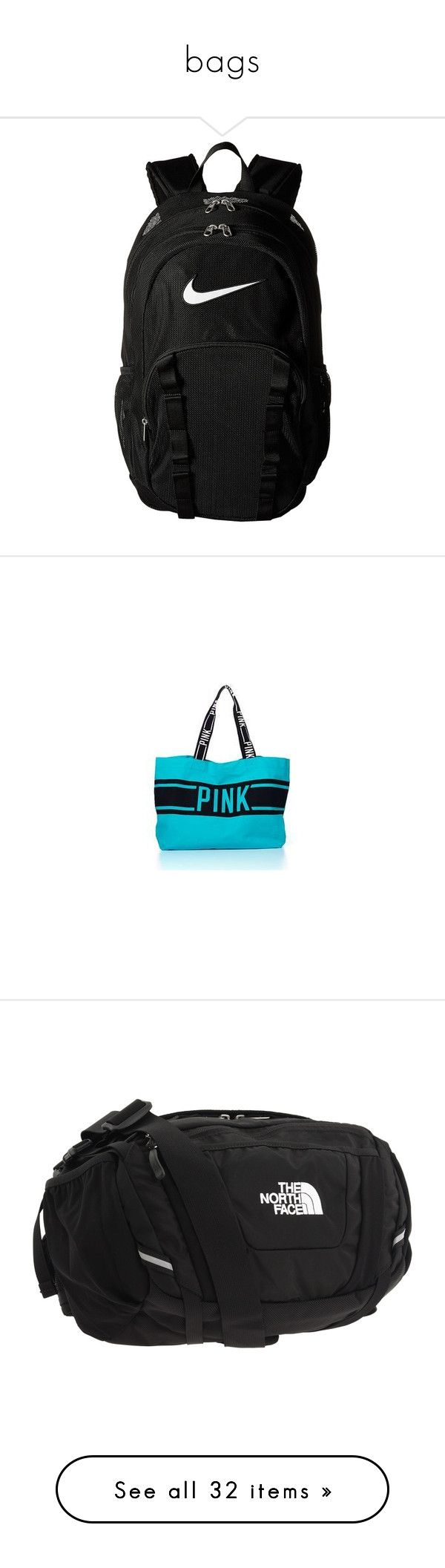 """""""bags"""" by taylorvel ❤ liked on Polyvore featuring bags, backpacks, nike, day pack backpack, mesh backpack, zip bags, clear zipper bags, black and white backpack, handbags and accessories"""