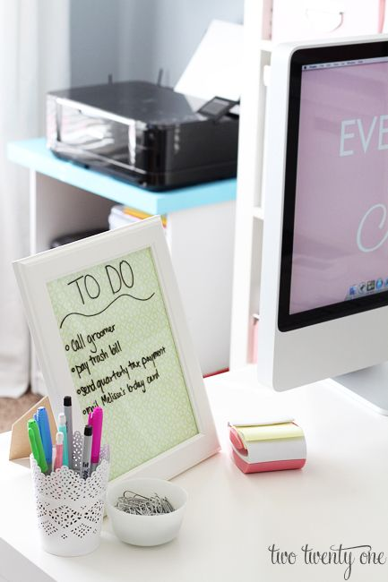 Desktop dry erase board ----- A dry erase board is essential for any office or desk. Make it sparkle with a glitter dry erase board from GlittErasables instead! http://www.etsy.com/shop/GlittErasable