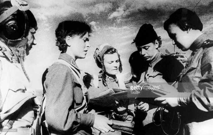 USSR. Female pilots of the Night Bomber Regiment, also called Night Witches by the Nazis, formed by Colonel Marina Raskova report to their commander during World War II. TASS   (Photo by TASS via Getty Images)