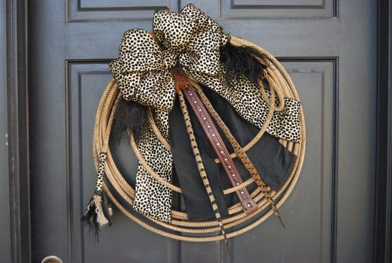 "Rodeo Cowgirl Western Lariat Rope Wreath "" Wild Black Leopard Cowgirl "" on Etsy, $64.95"
