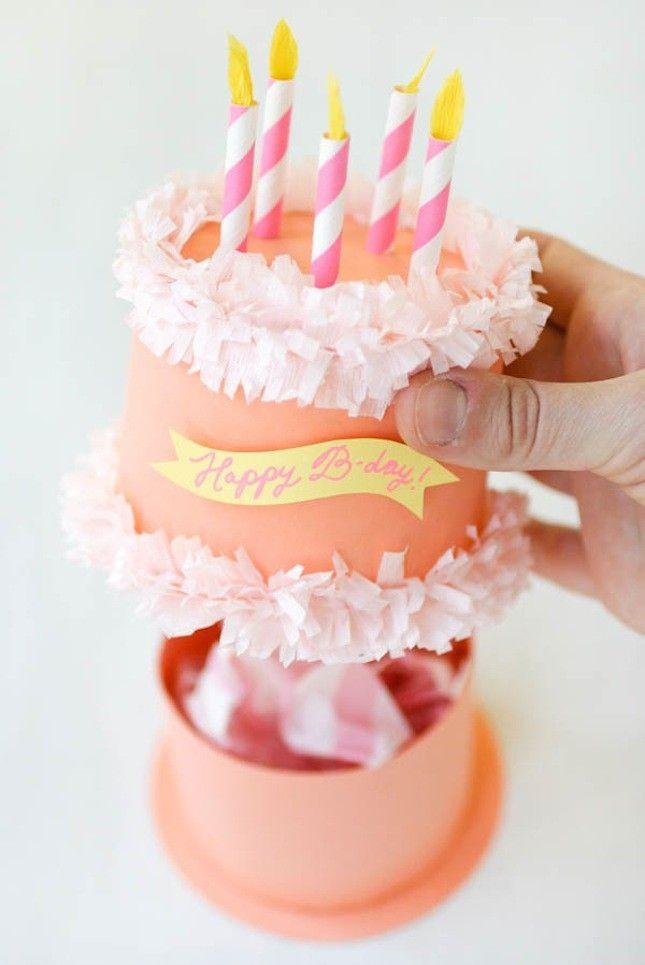 Wie goldig! Runde Dose als Geburtstagskuchen dekoriert.
