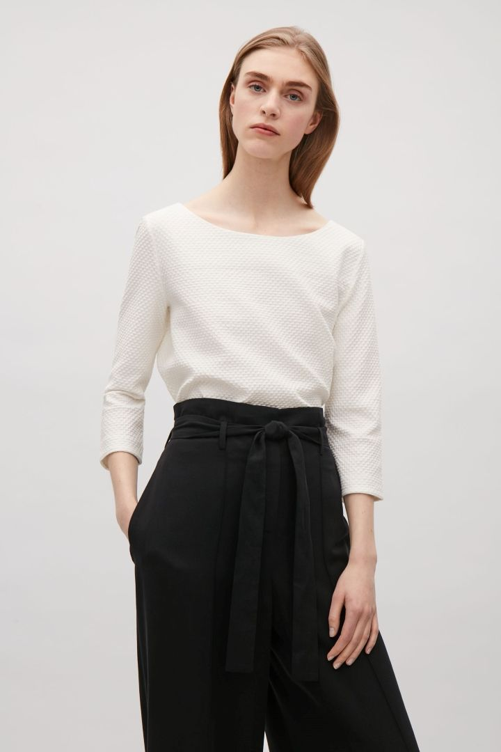 Textured jersey top - White - Sale - COS NL