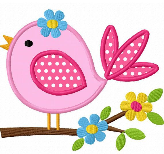 Instant Download Bird With Flower Applique by JoyousEmbroidery