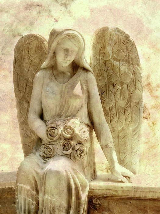 """~ cemetery angel statue- Greeting Card by Randy Steele Psalm 139:16 """"You saw me before I was born. Every day of my life was recorded in your book. Every moment laid out before a single day had passed."""""""
